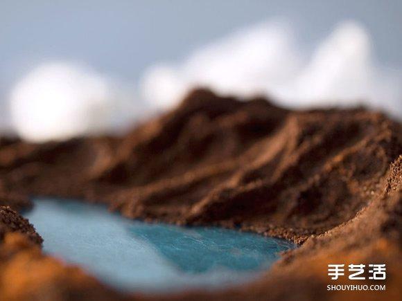 利用羊毛氈和牛奶、巧克力等DIY而成的風景