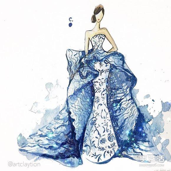 指甲油藝術時裝畫 用指甲油畫出艷麗晚禮服