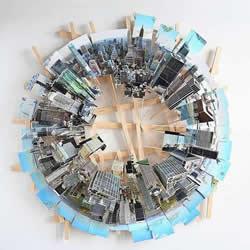 立体城市纸雕艺术 把多张照片拼接成全景