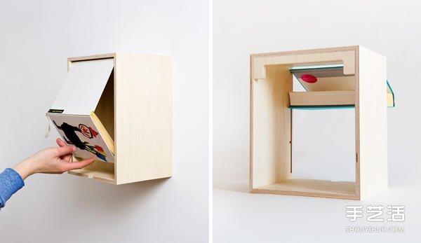 利用廢舊書本開合DIY收納木製書櫃的方法