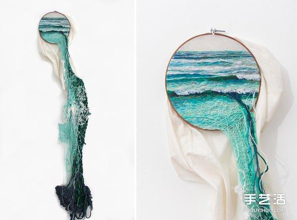 跳出木框的刺绣风景 创造不一样的视觉效果 -  www.shouyihuo.com