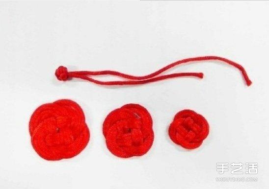 雙線結玫瑰花的編法 手工編織雙線結玫瑰圖解