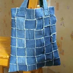 买菜手提袋制作交叉 旧牛仔裤改造买菜袋子