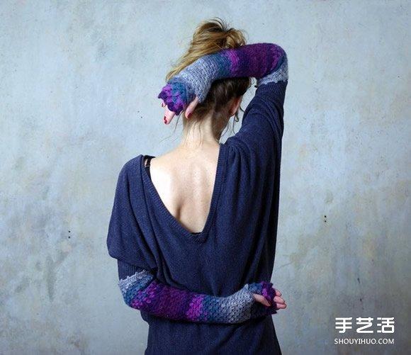 手工針織龍鱗手套 漸層毛線讓冬天保暖也清爽