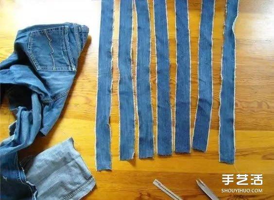 买菜手提袋制作交叉 旧牛仔裤改造买菜袋子 -  www.shouyihuo.com