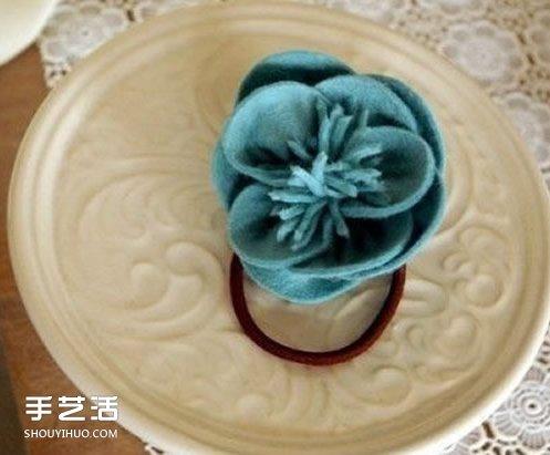 布花頭繩手工製作圖片 自製花朵頭繩的方法