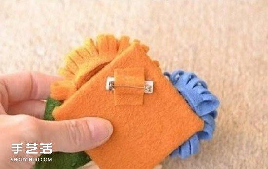 布藝胸花製作過程 不織布胸針DIY方法圖解