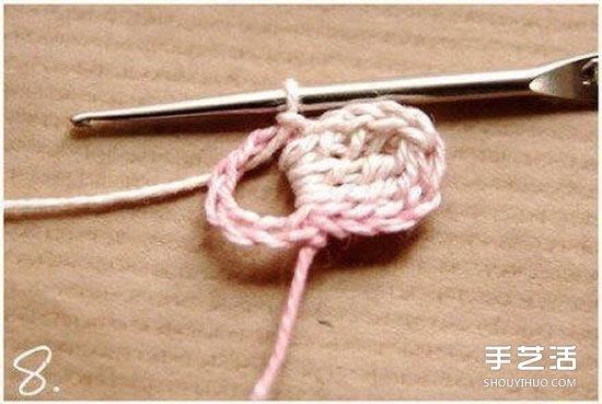 鉤針小花朵圖解教程 六個花瓣裝飾小花的鉤法