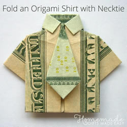 美元折纸短袖T恤的图解教程 自带可爱小