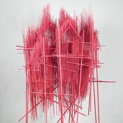 这不是素描 钢筋跟钢琴弦编织而成的雕塑作品