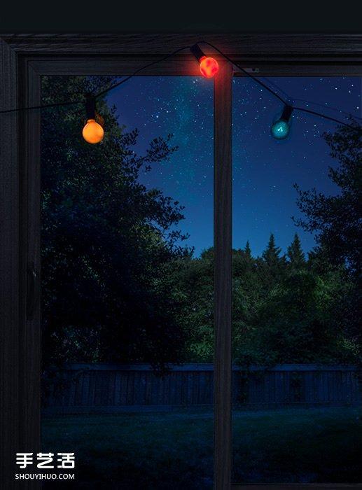 坐擁美麗太陽系 散發行星光澤的燈泡串設計