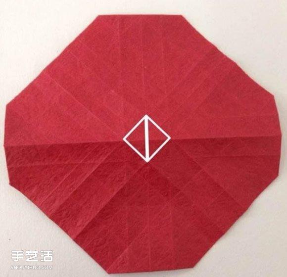 超详细川崎玫瑰的折法图解 包括花朵和花托 -www.shouyihuo.com