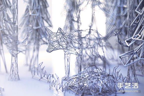 """""""金包银""""铁丝雕塑 缠绕出动物的优雅灵魂 -  www.shouyihuo.com"""
