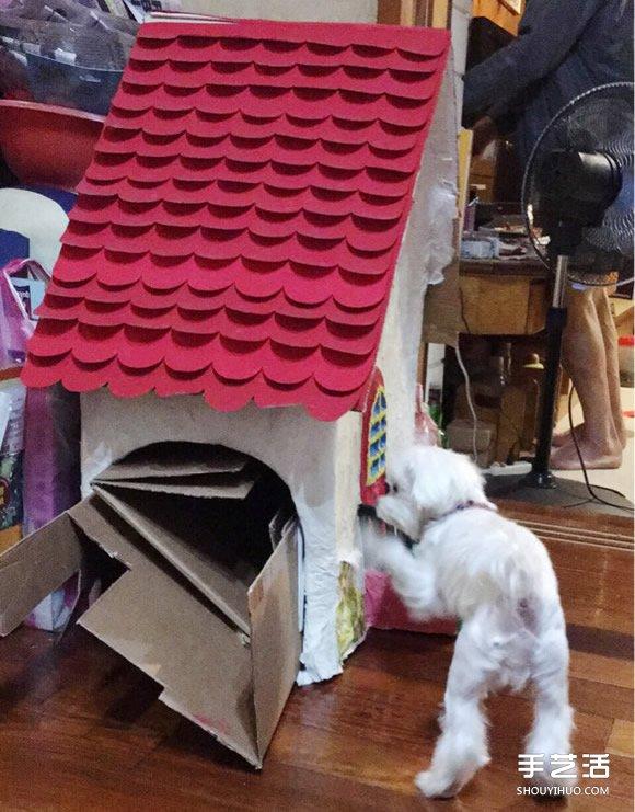 狗屋的制作方法带图片 废纸箱做狗窝的做法 -  www.shouyihuo.com