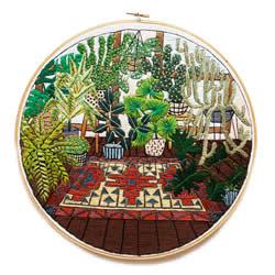 以绿色的盆栽当主题 一针一线勾勒出绿意盎然
