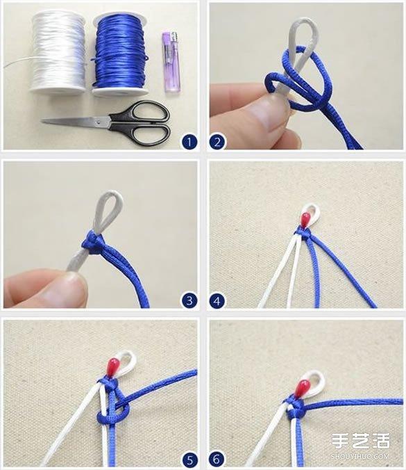 藍白兩色手鏈編織過程 青花瓷風手鏈DIY教程