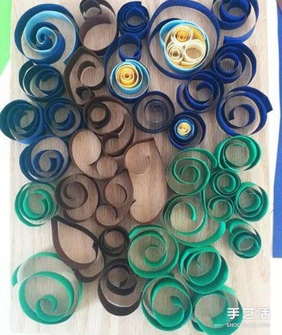 卷纸装饰画DIY制作教程 美丽星光璀璨的夜空 -www.shouyihuo.com
