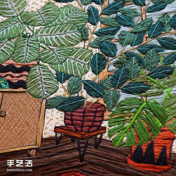 以绿色的盆栽当主题 一针一线勾勒出绿意盎然 -  www.shouyihuo.com
