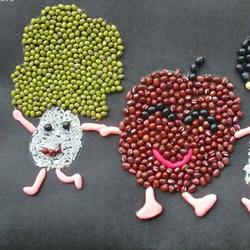 可爱的儿童豆子画图片 幼儿园豆子粘贴画