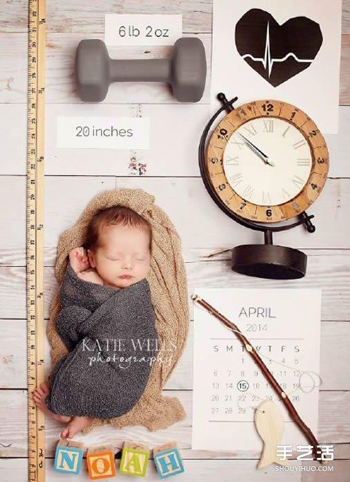 藉助於日常生活小物的創意寶寶照片欣賞