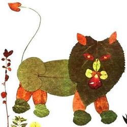 优秀树叶贴画欣赏 幼儿园树叶粘贴画获奖作品