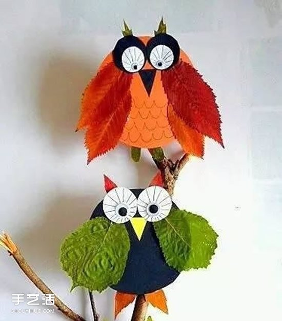 儿童树叶贴画作品图片 秋天树叶拼贴画大全 -  www.shouyihuo.com