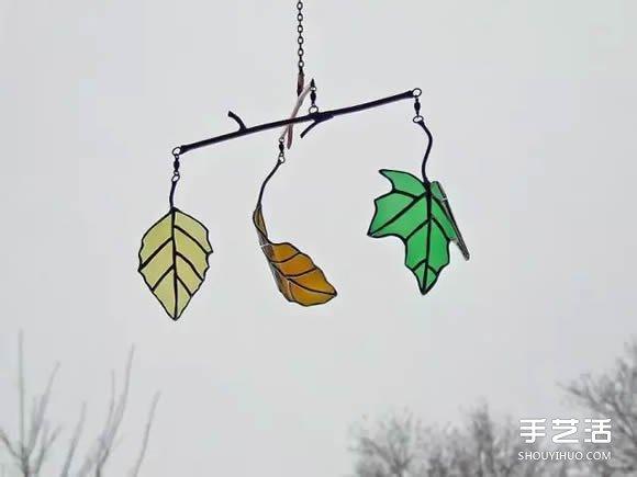 酒瓶廢物利用DIY樹葉 玻璃葉子掛件DIY圖片