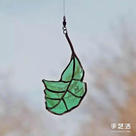 喝酒后的酒瓶_酒瓶废物利用DIY树叶 玻璃叶子挂件DIY图片_手艺活网