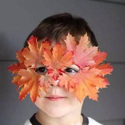 幼儿园树叶面具手工制作 简单叶子面具的