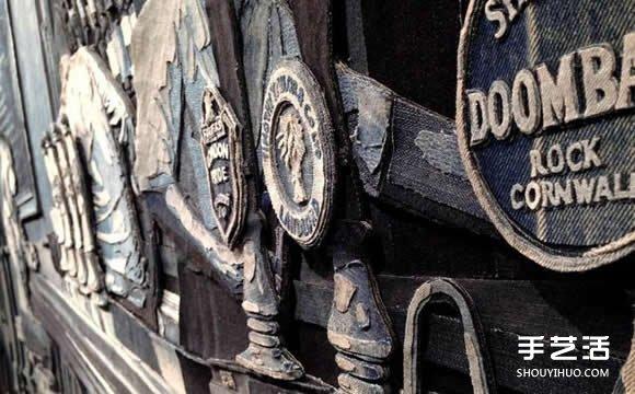 舊牛仔褲作為創作材料 寫實風格牛仔布拼貼畫