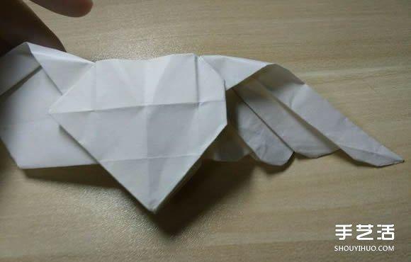 双爱心的折法_会飞的爱心折纸图解 有翅膀的心形折法步骤_手艺活网
