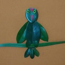 小鸟树叶贴画制作图片 叶片贴图可爱小鸟做法