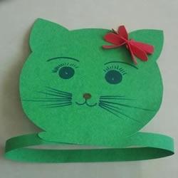 幼儿园小猫头饰图片 简单卡纸小猫帽子的做法