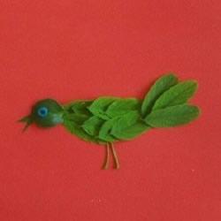 树叶贴画麻雀的方法 手工制作树叶麻雀的步骤