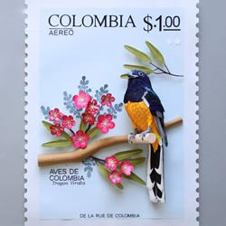 哥伦比亚艺术家的纸雕邮票作品 漂亮又别致!
