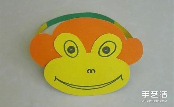 幼儿园黑色卡纸儿童画_简单卡纸猴子头饰制作 幼儿猴子帽子的做法_手艺活网