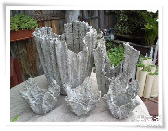 舊毛巾廢物利用做花盆 水泥毛巾花盆手工製作