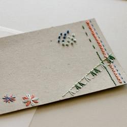 刺绣新年贺卡手工制作 创意明信片设计DIY