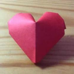红色立体爱心折纸图解 立体红心的折法步骤