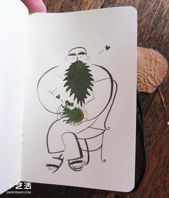 创意树叶贴画贺卡DIY 把画画和树叶融为一体 -  www.shouyihuo.com