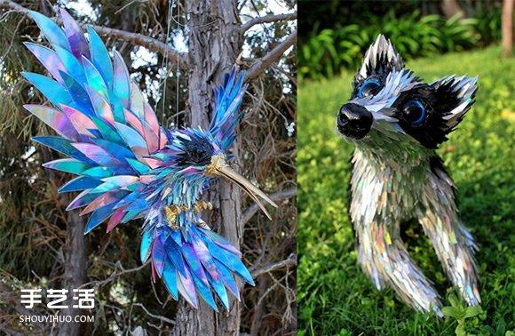CD光盤變廢為寶 塑造出各式各樣的動物雕塑