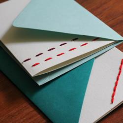 缝线贺卡的手工制作方法 刺绣装饰贺卡DIY教程