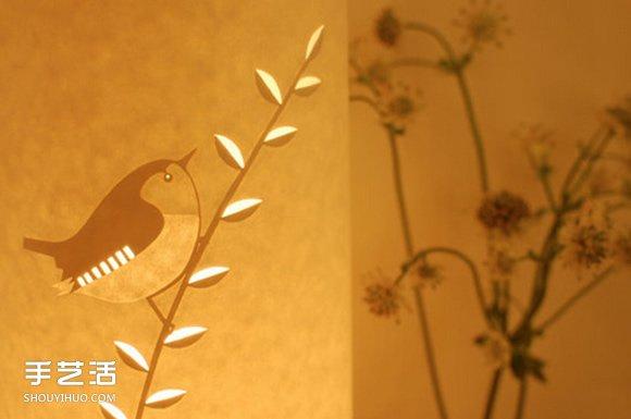 唯美手工纸皮灯制作 花鸟图案雕刻纸灯DIY -  www.shouyihuo.com