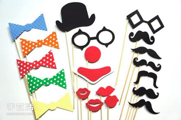拍照小道具DIY制作图片 派对假面具手工制作 -  www.shouyihuo.com