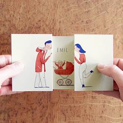 一秒变全家福的温馨卡片 左右拉开后出现