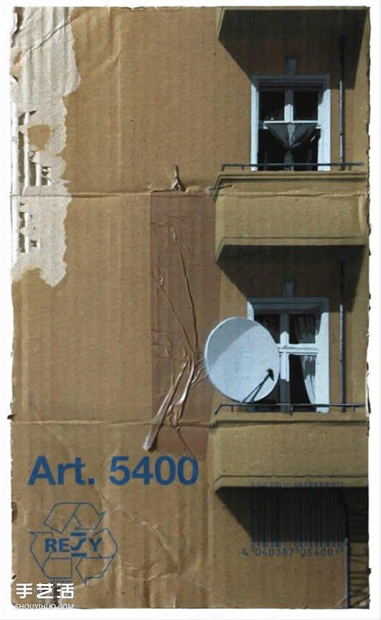 栩栩如生_瓦楞纸做房子的创意DIY 硬纸板房子手绘图片_手艺活网