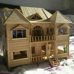 一次性筷子手工制作逼真别墅模型 步骤超