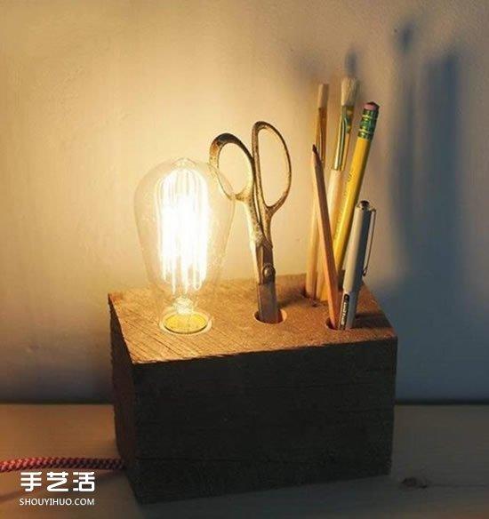 手工制作台灯的方法_DIY自制原木台灯做法 木块手工制作台灯的方法_手艺活网