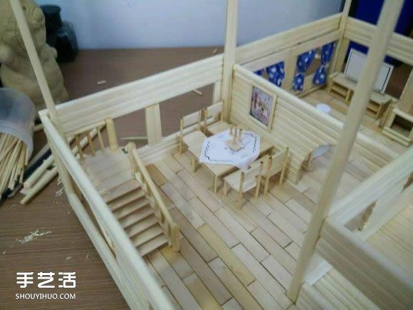 一次性筷子手工制作逼真别墅模型 步骤超全! -  www.shouyihuo.com