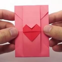 带爱心信封的折法图片 心形信纸情书的折法图解